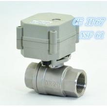 """3/4 """"Миниатюрный двухтактный электрический шаровой клапан из нержавеющей стали (T20-S2-C)"""