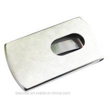 Suporte de cartão de visita Push-Type de couro