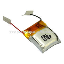 Li-polymer Battery with 260mAh Capacity, Circuit Module Protection and Wire Leads