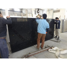 Sparkling Black Quartz Slabs With Glass Or Mirrors Samples Available For Test