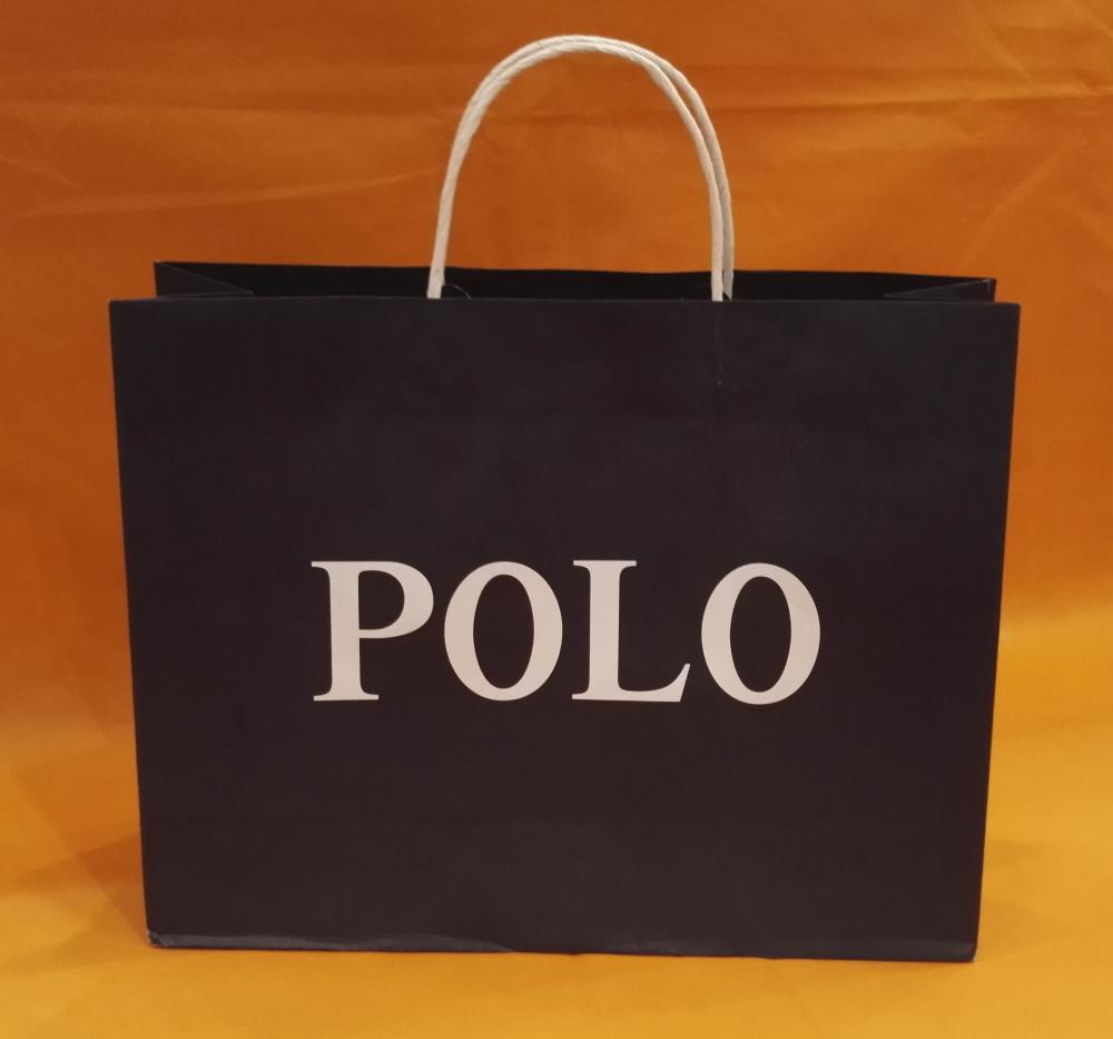 Printed Logo Black Handle Paper Bag