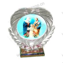 Лазерный выгравированный религиозный кристалл, кристаллический блок статуи со светодиодной базой