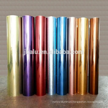 Recyclable food grade colored embossed aluminum foil paper