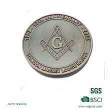Pièces de monnaie maquillées adaptées aux besoins du client de logo maçonnique pour le cadeau de promotion