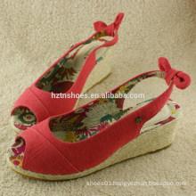 2014 Girls fresh red high platform wedge sandals with straw design heelpiece with bow