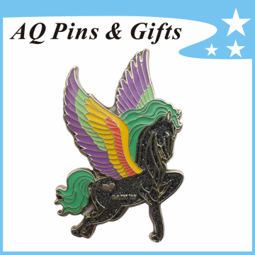 Hot Selling Horse Lapel Pin Badge with Glitter&Epoxy (badge-112)