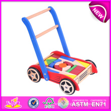 Top Quality Go-Cart with Wooden Blocks, Cheap and Colorful Wooden Toy Go Carts for Kids, Funny Wooden Baby Cart Toy Blocks W16e014