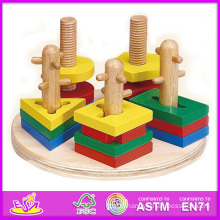 2014 New Kids Wooden Stacking and Shape Puzzle, Popular Children Hot Sale Preschool W13e014