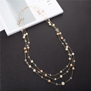 Wanita Fashion Jewelry 3 Strand Pearl Necklace