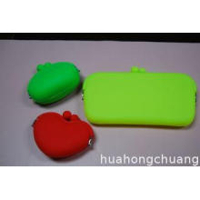 LFGB 100%-friednly Silicone Coin Purses Red / Green For Pro