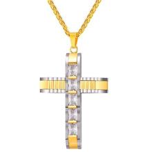 China Wholesale Men Fashion Edelstahl Kette Kristall Kreuz 24K Gold Schmuck Halskette Modelle
