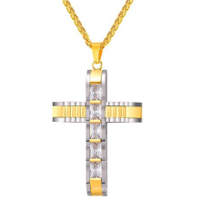 Los hombres al por mayor de la manera de China de la cadena del acero inoxidable Crystal Cross 24K Gold Jewelry Necklace Models