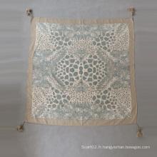 Foulard imprimé en coton soie en soie