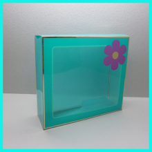 Custom made high quality hot stamping foldable with clear plastic window Acetate cosmetic box