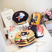 2017 Nouveau Mignon de Bande Dessinée PU Cuir Femmes Glace Petite Chaîne Embrayage Bandoulière sacs Fille Épaule Messenger sac