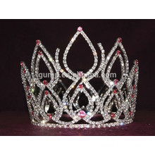 crystal full round crown tiara with water tear shape