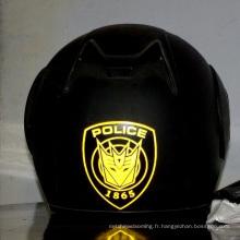 Forme ronde fluorescente autocollants réfléchissants de sécurité casque de moto