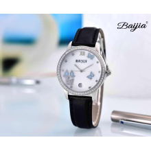 Pearl Dial Promotional Fashion Ladies Wrist Watch with Leather Band