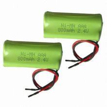 NiMH Battery Packs with AAA 4.8V Nominal Voltage, 800mAh Capacity