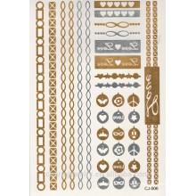 OEM 2015 новых золотых / серебряных татуировок наклейки розничной / металлических временных / металлических текстур / безопасности и охраны окружающей среды CJ006