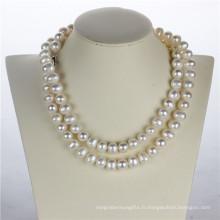 11-12mm Forme de pomme de terre Collier de perles de perles blanches