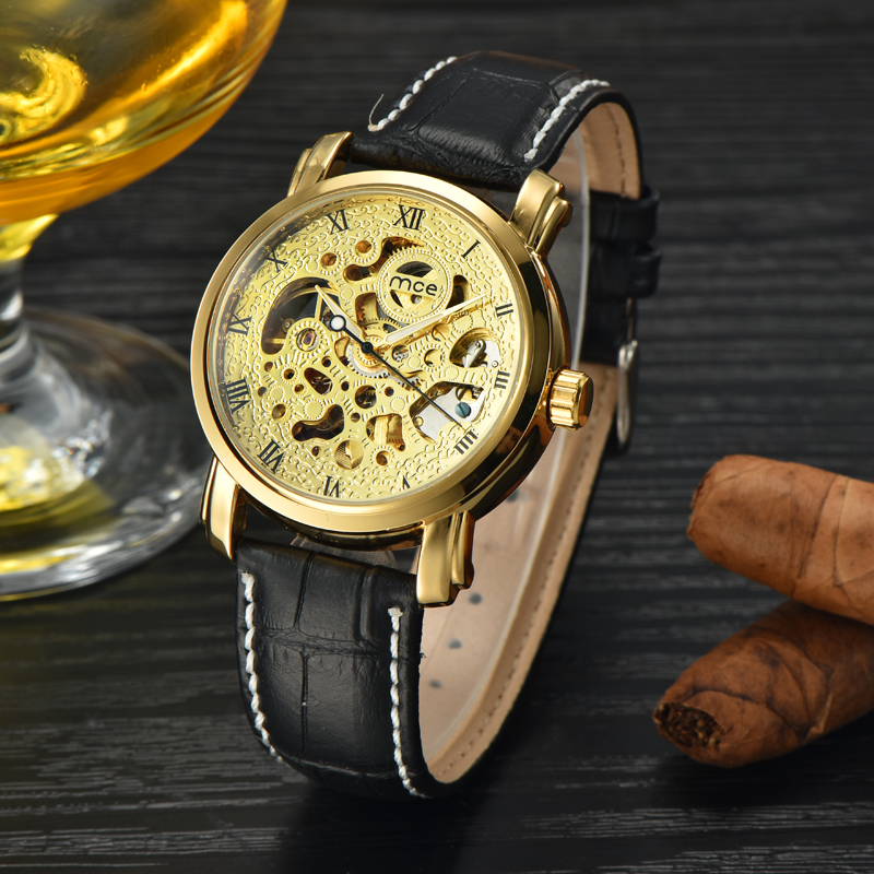 newest automatic movement leather mechanical mens wrist watch