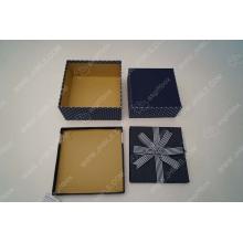 Blue dot white hand gift box