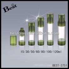 Botellas sin aire acrílicas redondas de 80 ml con la bomba de los pp; Botellas de la loción de acrílico 50/60/100 / 120ml con el labio, abrebotellas de acrílico