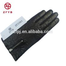 women fashion black zipper leather gloves