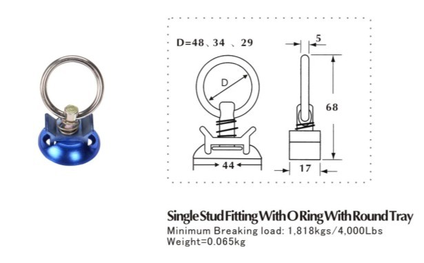 Sing-stud-fitting met O-ring met ronde lade
