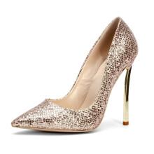 elegant golden color shallow party wedding microfiber leather metal high heel women's pumps