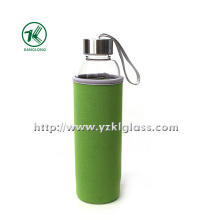 Glass Bottle with Neoprene Fabrication Oversleeve Stainless Steel Lid