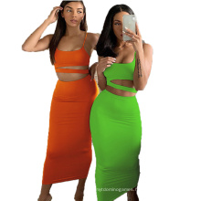 Ready to Ship Summer Solid Color Design Basic Long Skirt Skinny Sexy Fashion Customized Women&Primes Dress Two-Piece Suit