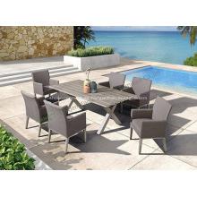 Garden Aluminum 6 Sillas y juego de mesa rectangular