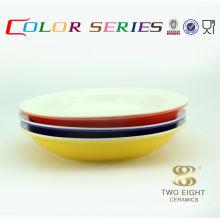 Türkische japanische glasierte keramische runde rote Reisschüsseln für Verkauf 11 Zoll