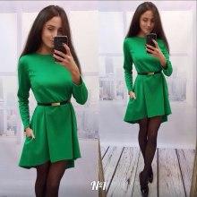 2016 Длинные рукава Чистый цвет шва Подробнее Последние дизайн Женщины Мода Туника платье