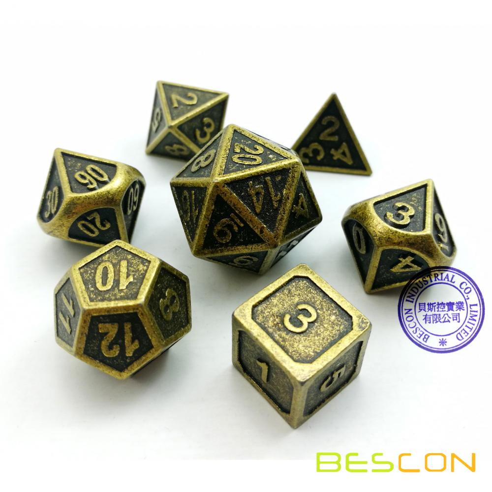 Bescon New Style Ancient Brass Solid Metal Polyhedral D&D Dice Set of 7 Brass Metallic RPG Role Playing Game Dice 7pc Set D4-D20
