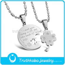 """TKB-JP0166 """"Je veux que tu restes avec moi le reste de ma vie"""" 2015 vente chaude couple bijoux avec pendentif en acier inoxydable de trèfle"""