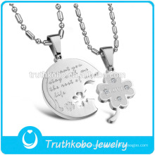 "TKB-JP0166 ""I want you stay with me the rest of my life""2015 hot sell couple jewelry with clover stainless steel pendant"