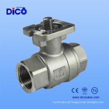 Válvula de esfera de aço inoxidável da linha 2PC do Ce com a almofada de montagem ISO5211