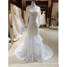 Mermaid Halter Long Sleeve Tulle Wedding Dress