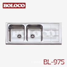 Italy High Quality Matt Double Bowl Single Drainer Welding Rectangle/square Kitchen Sink 304# Bl-975