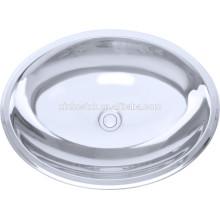 Fregadero de recipiente de acero inoxidable ovalado 304, fregaderos de baño, fregaderos de lavabo
