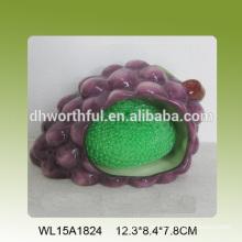 Portavasos en forma de uva en forma de esponja de cerámica decorativa