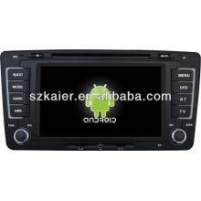 Sistema Android dvd player do carro para VW Skoda Octavia com GPS, Bluetooth, 3G, ipod, Jogos, Dual Zone, controle de volante