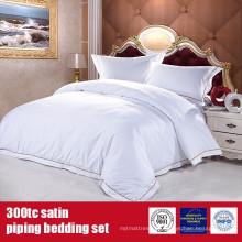 Roupa de cama ajustado 100% da categoria do hotel do fundamento do cetim de 100% do cetim do algodão 300TC