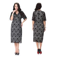 Les femmes de grande taille de polyester de matière de gamme de taille portent la robe noire de dentelle de vente de sexe de meilleure qualité