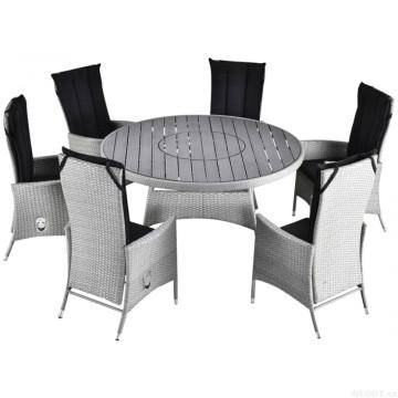 Muebles de jardín de mimbre juego de Patio de comedor de mimbre al aire libre