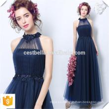 Elegante damas sin mangas de color azul oscuro formal formal azul boda vestidos de fiesta para las mujeres 2016