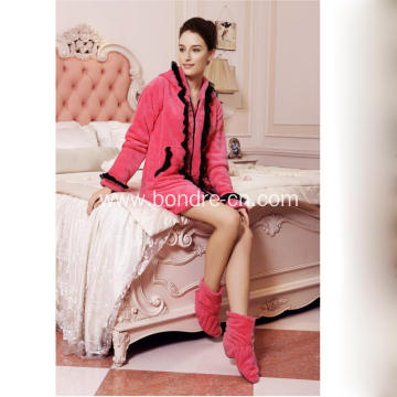 Women Soft Touch Fleece Pajamas Dress With Hood